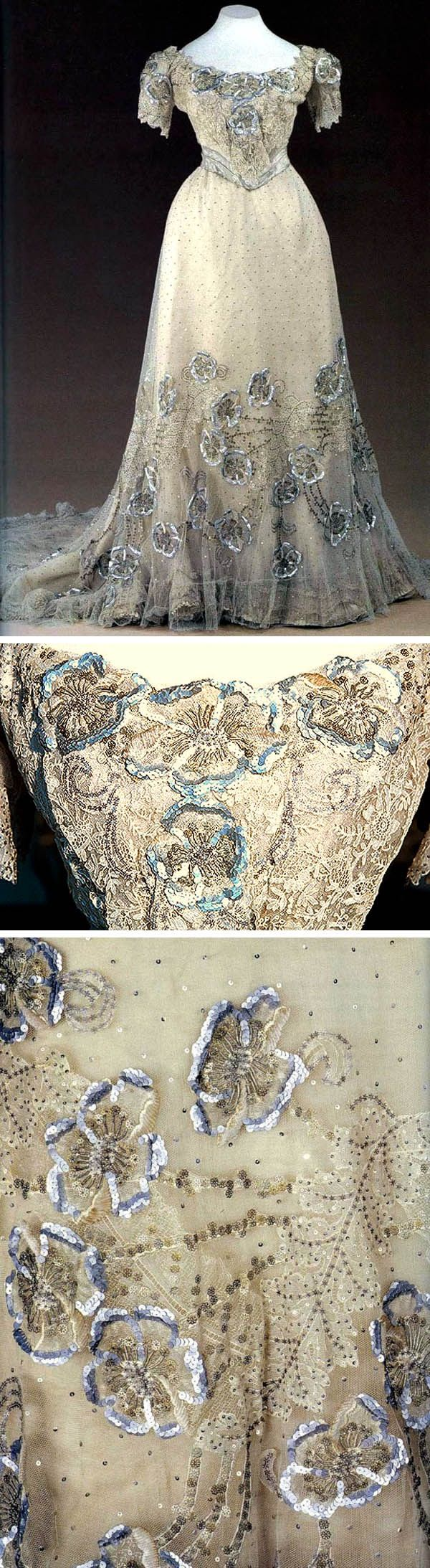 1900s (early) Evening gown, by Nadezhda Lamanova, Moscow of white satin with tulle and chiffon, sequins, and embroidery, silver brocade belt made for Empress Alexandra