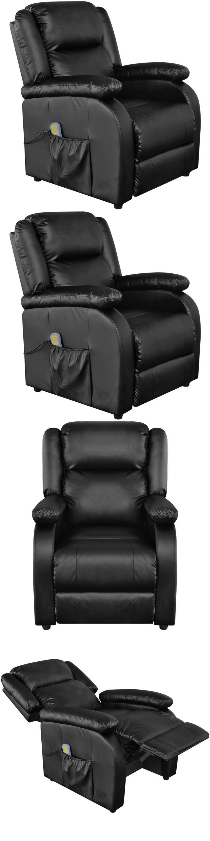 Electric Massage Chairs: Full Body Massage Chair Black Faux Leather Recliner Armchair Heated Chair Relax BUY IT NOW ONLY: $359.99