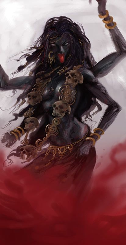 """Kālī is the Hindu goddess associated with empowerment, shakti. She is the fierce aspect of the goddess Durga (Parvati). The name Kali comes from kāla, which means black, time, death, lord of death: Shiva. Since Shiva is called Kāla— the eternal time — the name of Kālī, his consort, also means """"Time"""" or """"Death"""" (as in """"time has come"""")."""