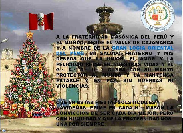 Gran Logia Oriental del Perú expresa sus deseos de unión, amor y felicidad por fiestas