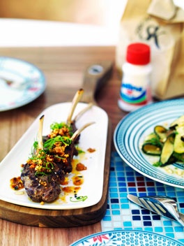 Char-grilled lamb with green chili and sesame sauce