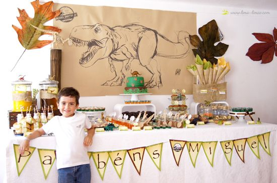 Dinosaur Theme Party...  The table with the birthday boy