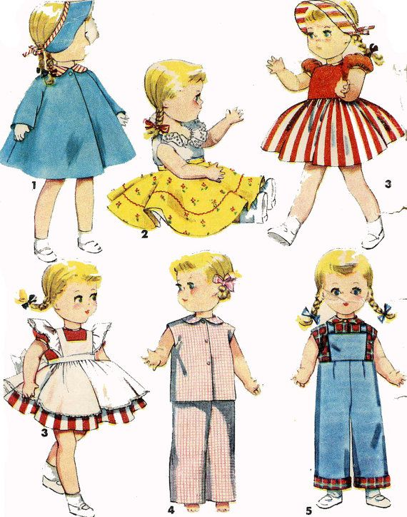 Vintage Doll Clothes PATTERN 4509 for 16 inch by BlondiesSpot, $9.99
