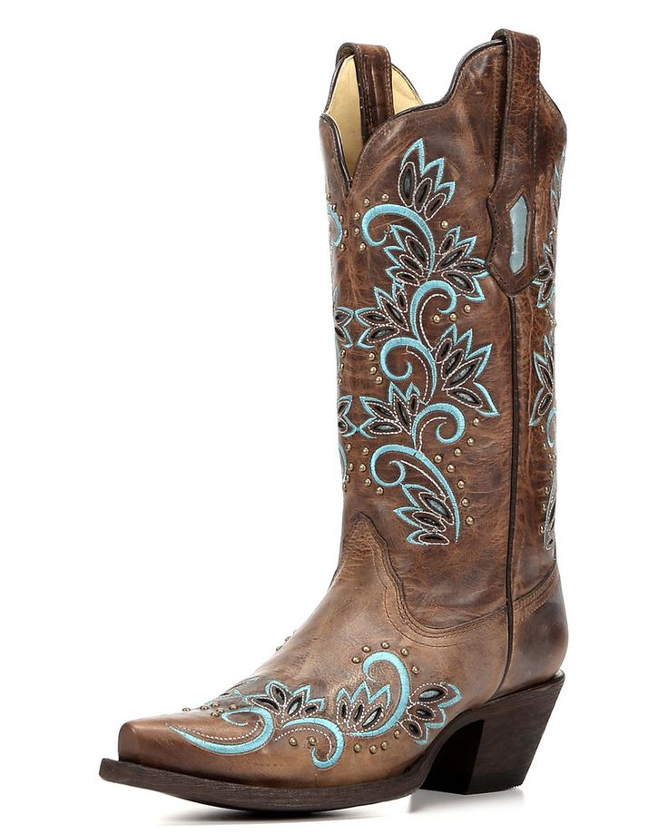 Women's Studded Snip Toe Boot with Inlay Turquoise / Brown - R1330,