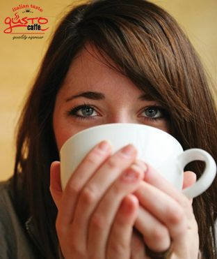 Good morning  with a cappuccino  #gusto #espresso #woman #drinking