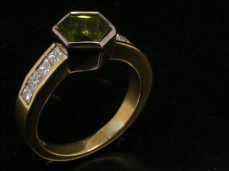 Peridot trinity custom cut set with princess cut diamonds in shoulders