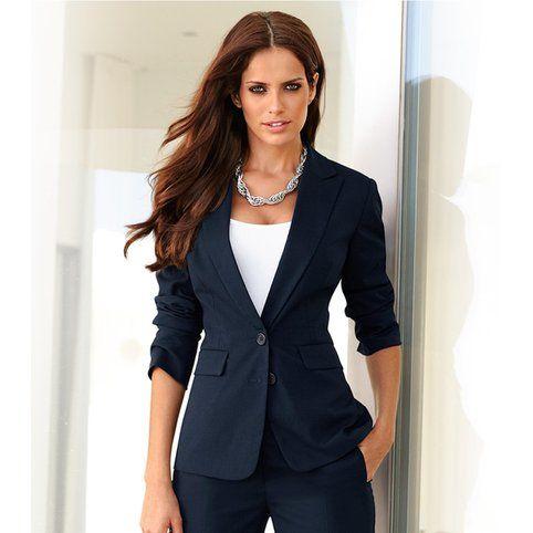 Veste tailleur manches longues femme Venca - Bleu marine- Vue 1