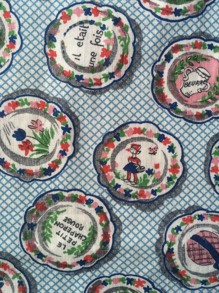 Vintage French fabric with kitchen and home motifs, beautiful thick soft cotton, by HelloVintageUK on Etsy