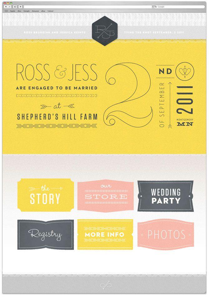 Ross Bruggink and Jess Keintz designed their own wedding website, developed by wonderful Bobby Marko.