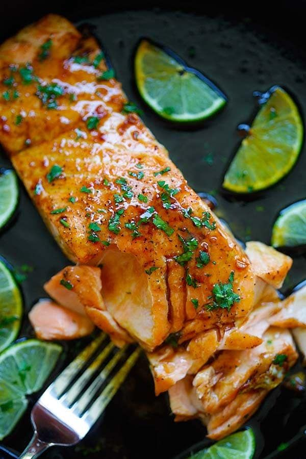 Honey Lime Salmon - sweet and zesty salmon with honey, lime juice and soy sauce. Takes 15 mins and great for tonight's dinner | rasamalaysia.com