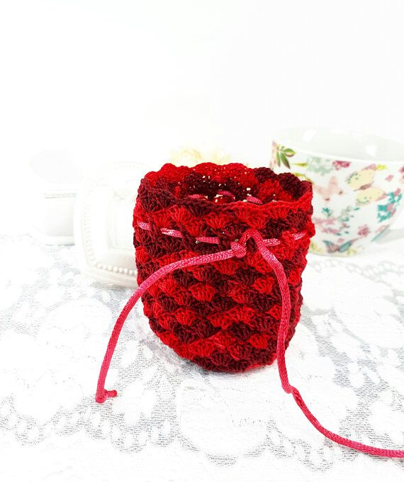 Bordeaux jewelry pouch crochet gift bag crochet scented bag