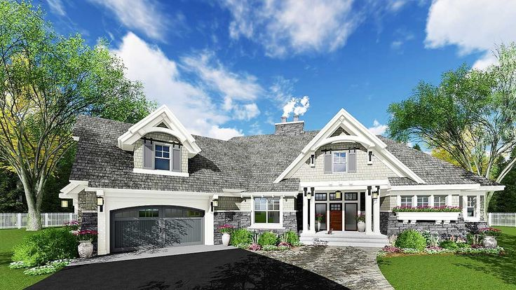 <ul><li>Wide open views greet you as soon as you step through the front door of this exciting Craftsman house plan.</li><li>The home is filled with custom touches like the built-ins and art niches and best of all, sliding barn doors to the large walk-in pantry off the kitchen.</li><li>Two unusual islands in the kitchen are bi-level, one with seating for 4.</li><li>Split bedrooms give the master suite a quiet location off by itself with a lovely sitting area to relax in.</li><li>Across the…