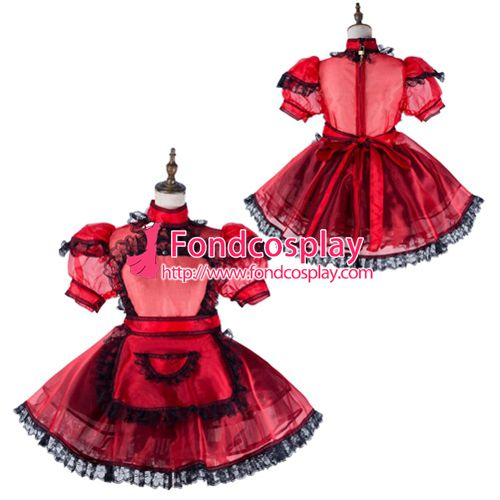 Sissy maid satin dress lockable Uniform cosplay costume Tailor-made[G2177]