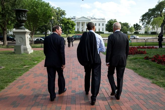 "President Barack Obama, Vice President Joe Biden, and Robert A. ""Bob"" McDonald walk through Lafayette Square en route to the White House after McDonald was announced as the nominee for Secretary of Veterans Affairs at the Department of Veterans Affairs in Washington, D.C., June 30, 2014. (Official White House Photo by Pete Souza)"