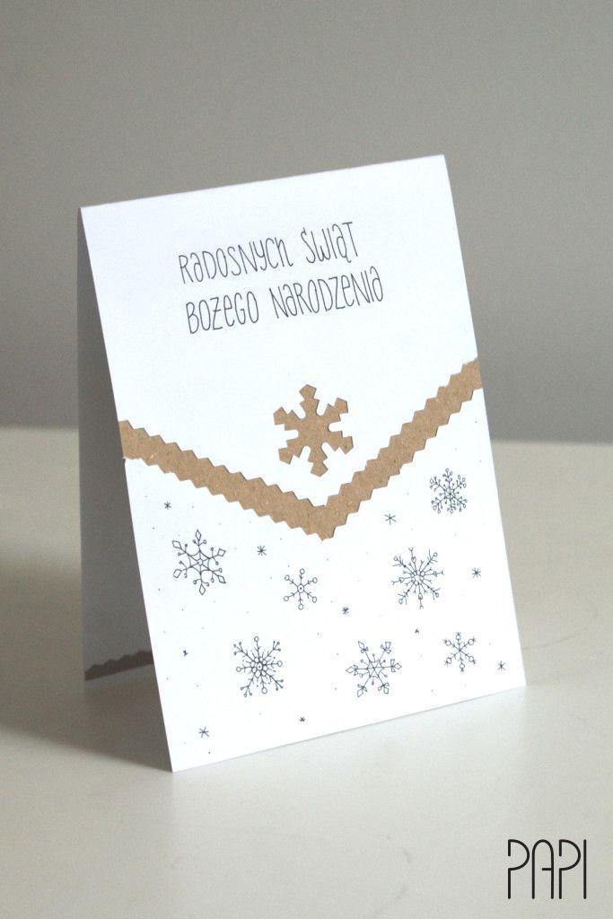 Kartka zimowa biała eco ze śnieżynkami ręcznie robiona