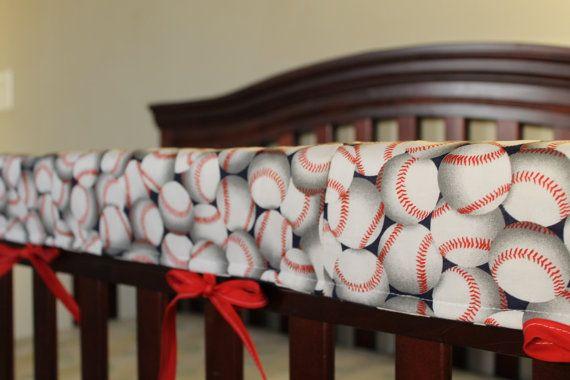 Baseball Long Side Crib Rail Guard by DesignsbyChristyS on Etsy, $35.00