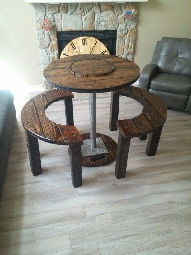 Cable spool table and benches.