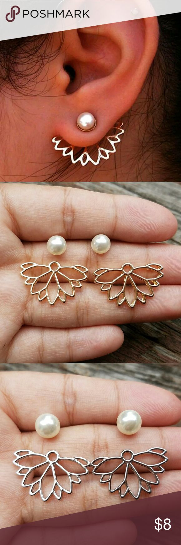 New faux pearl front back Lotus earrings Available in gold & silver earrings New Checkout my other items for sale Bundle & pay only one shipping. Jewelry Earrings