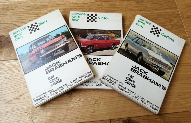 Jack Brabham's Car Care Cards - Three Vintage Jack Brabham's Car Care Cards - 1968 For Ford Cortina, Vauxhall Victor And Hillman Minx by OnyxCollectables on Etsy