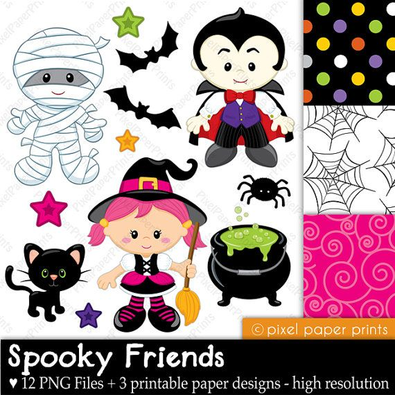 Spooky Friends - Halloween clipart - Clip art and Digital paper set
