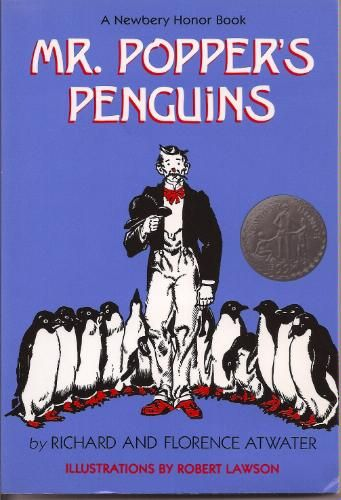 """MR. POPPER""""S PENGUINS by Atwater. 14 & 11 yo read to selves & 9yo listened on audio tape from local library (& followed along with book in kit)."""