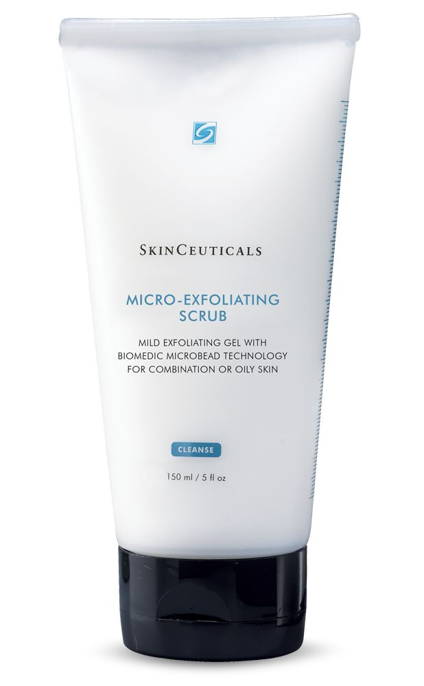 MICRO-EXFOLIATING SCRUB-  Gel scrub with microbeads to smooth and polish skin. For congested and rough skin. This mild exfoliating gel combines natural microbeads with gentle cleansing and hydrating agents to thoroughly cleanse pores and promote healthy skin surface renewal without damaging or drying skin. HOW TO USE: Apply a small amount of scrub to a damp face. Gently massage for a full minute. Rinse thoroughly with water. #SkinCeuticals #Exfoliant #Scrub