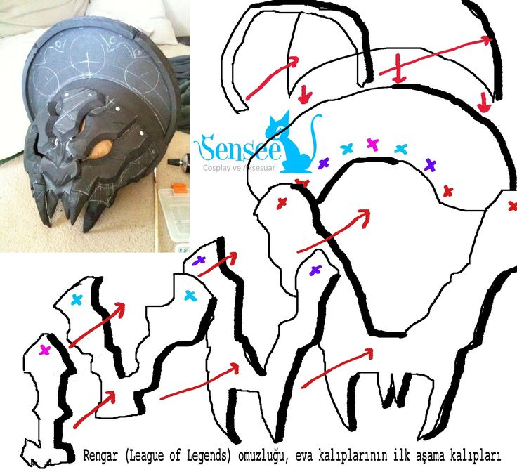 LOL Rengar Shoulder Armor Part Patterns Tutorial