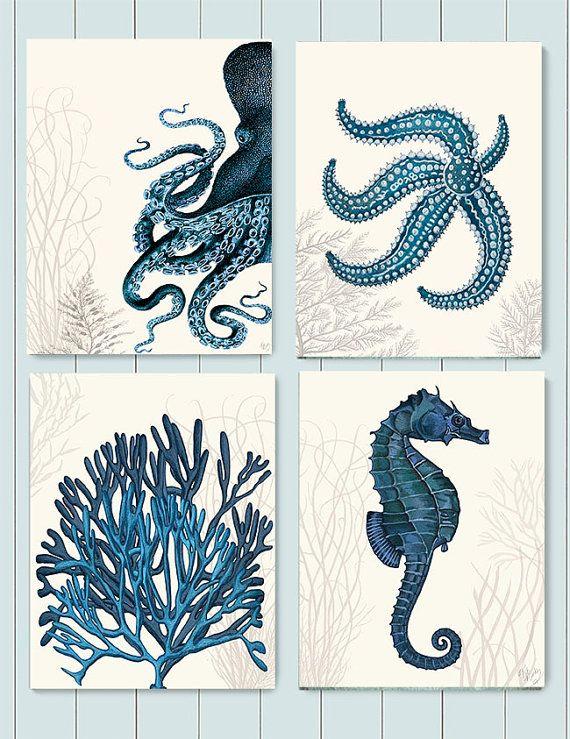 Nautical Bathroom wall art  Set of 4 blue nautical art prints