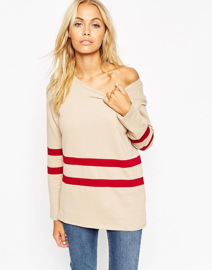 ASOS Sweatshirt With Off Shoulder and Placement Stripe