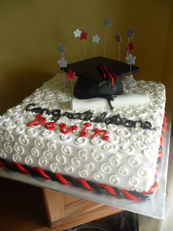 High School Graduation Cakes | Cake Whimsy: Red, Black & White Graduation Cake