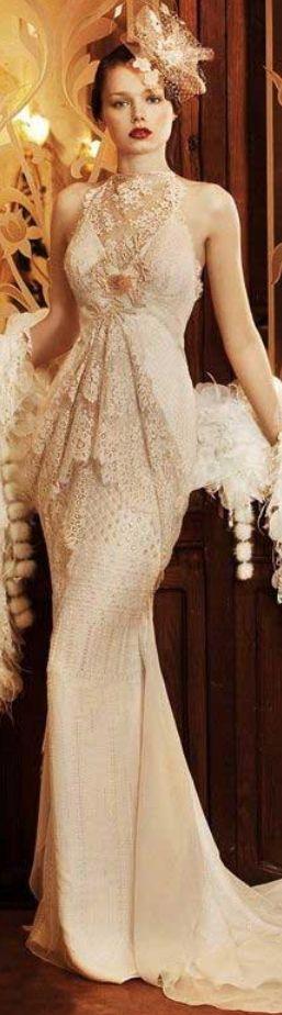 Yolan Cris Retro Vintage Lace Gown