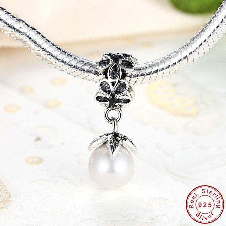 Ciondolo con perla e fiori Pearl Charm Fit Pendant 100% argento sterling 925 adatta a misure Pandora charm beads e braccialetto europeo S089 di OceanBijoux su Etsy