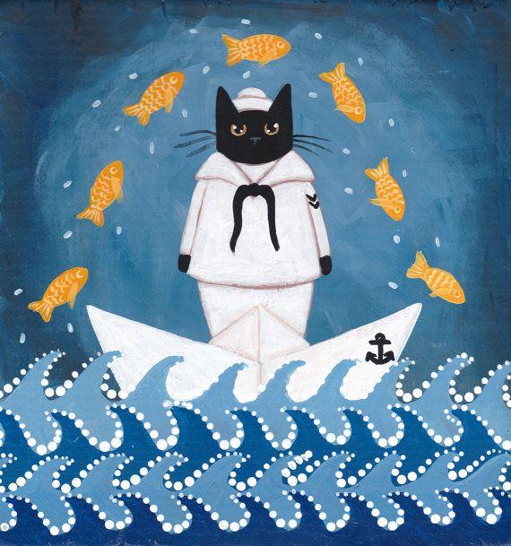 Sea Dreams  Sailor Cat  Original Whimsical Folk Art Painting by KilkennycatArt (Ryan Conners)