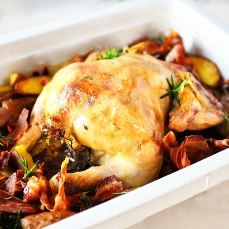 Geroosterde kip met aardappels uit de oven   4Pure