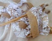 Burlap Wedding Wands SET OF 50 Rustic Wedding Burlap and Lace 4 Tier