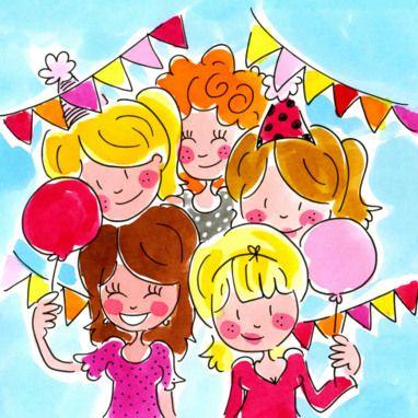 Vriendinnen met slingers en ballonnen- Greetz