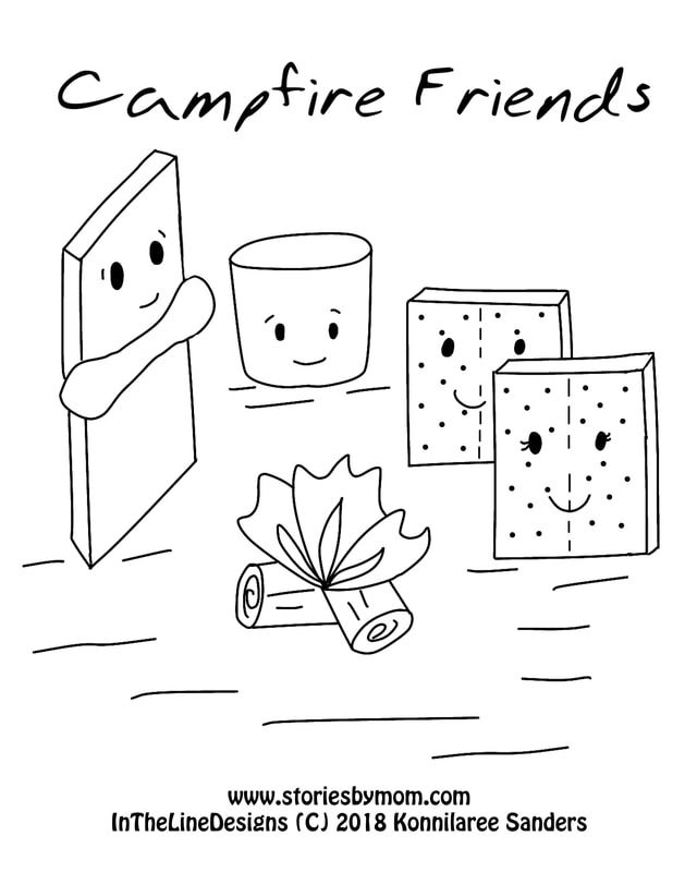 Campfire Friends Coloring Page Chocolate Marshmallow
