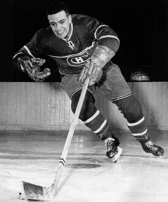 "Bernie Geoffrion, Montreal Canadiens - aka ""Boom Boom"" (self-proclaimed?) inventor of the slap shot."