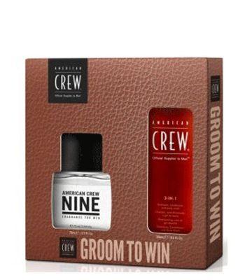 groom to win  American Crew Nine Fragrance 75ml  American Crew Classic 3 in 1 250ml  https://www.headmasters.nl/winkel/american-crew/13/american-crew-groom-to-win-duo-kit/