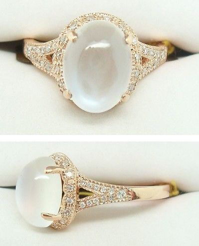 Moonstone & Diamond Estate Ring
