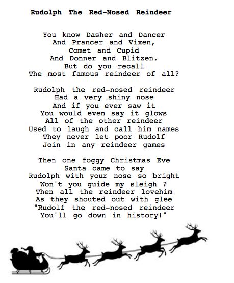 It is a photo of Dashing Words to Rudolph the Red Nosed Reindeer Printable
