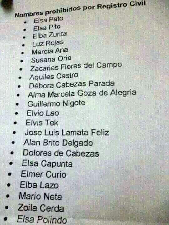Nombres prohibidos por el registro civil.