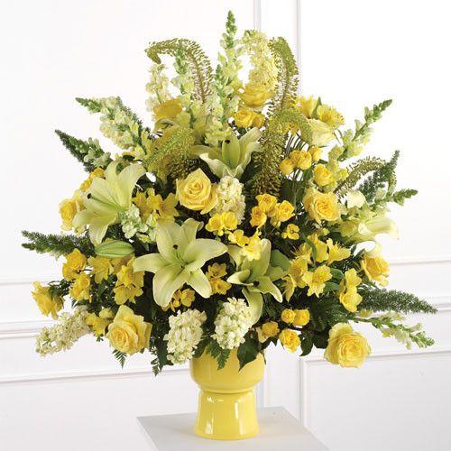 Classic Pedestal Wedding Flowers Altar Arrangement