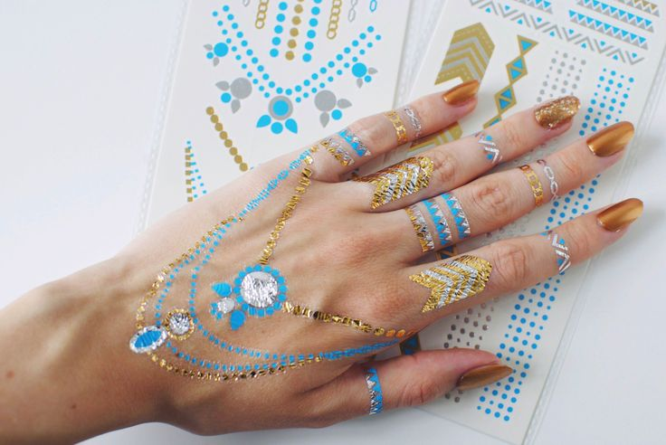 A new colorful look created with our 'Festival Favorite' turquoise flash tattoo double pack  www.shopsilah.com