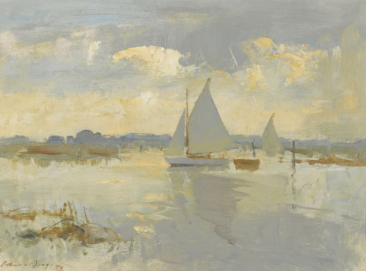 "EDWARD SEAGO  Evening In Heigham Sound   Oil on Board  12"" x 16"""