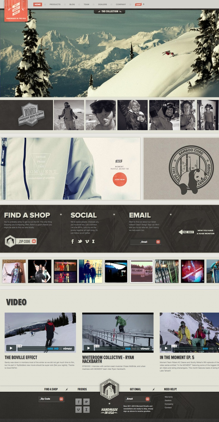 Nice homepage design for Moment Skis
