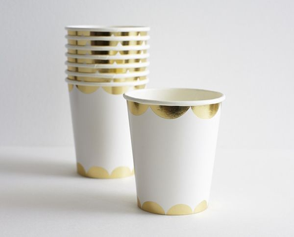 Gold Scalloped Paper Cups: http://www.stylemepretty.com/living/2015/07/12/disposable-partyware-so-pretty-you-wont-want-to-throw-it-out/