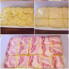 Ingredientes: - 4 o 5 patatas grandes  - queso en lonchas - bacon lonchas-tiras-taquitos - 2 huevos - 200 ml. de nata(crema) - mezcla de 4 quesos rallados para gratinar - sal y aceite de oliva