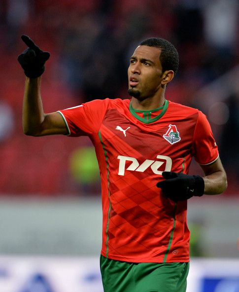 Maicon of FC Lokomotiv Moscow celebrates after scoring a goal during the Russian Premier League match between FC Lokomotiv Moscow and FC Volga Nizhny Novgorod at Lokomotiv Stadium on April 07, 2014 in Moscow, Russia.