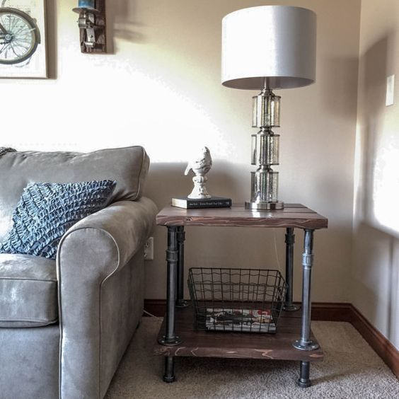 Industrial Wood And Pipe End Table Rustic Side